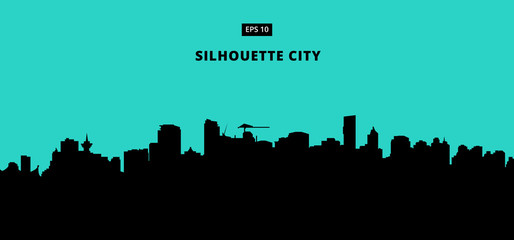 silhouette city on blue background. The flat vector