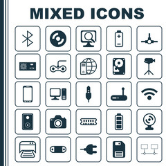 Computer Icons Set. Collection Of Dynamic Memory, Diskette, Router And Other Elements. Also Includes Symbols Such As Scan, Accumulator, Internet.
