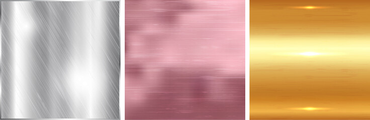 Gold, silver and rose gold gradient square background. Metallic texture. Vector