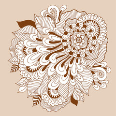 Beautiful doodle art floral composition. Henna tattoo flower template. Doodle floral drawing. Zentangle floral ornament