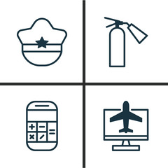 Transportation Icons Set. Collection Of Pilot Hat, Fire Extinguisher, Calculation And Other Elements. Also Includes Symbols Such As Cap, Booking, Sprinkler.