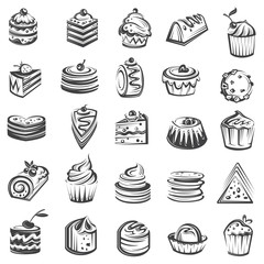 monochrome collection of cakes and cupcakes