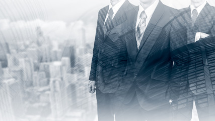 Three businessmen in suits. Business concept leader. Man power. Double exposure