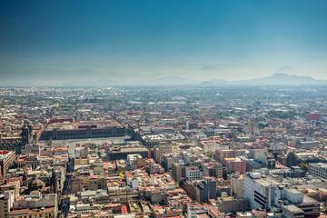 Mexico City skyline aerial view.