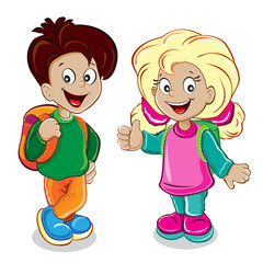 Boy and girl with backpacks on a white background