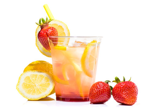 fresh lemonade in glass cup