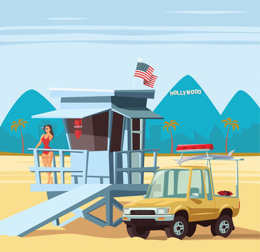 Woman lifeguard on duty with truck in Los Angeles beach