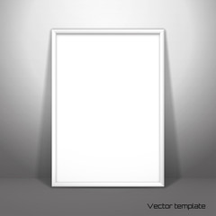 Vector template. Picture frame design. A white sheet (A4) of paper against the wall. Realistic shadow.