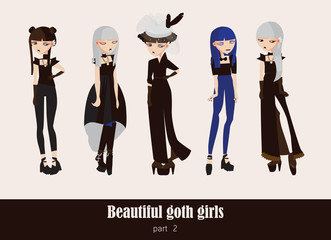 Vector set with isolated on background gothic girls. Goth clothes in dark colors, with different accessories, various hairstyle and posing. Serious characters