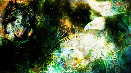 Eagle with wolf and zodiac in cosmic space. Profile portratit.
