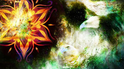 Eagle and mandala in cosmic space. Profile portratit. Computer collage.