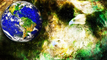 Eagle and planet earth and old map in cosmic space.