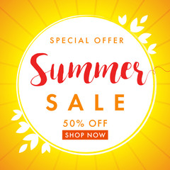 Summer sale special offer banner. End of Summer Sale banner vector design template discount