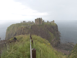 Castle of Dunnottar in Scotland on a rainy day