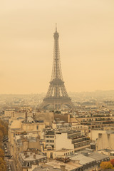 Eiffel tower in Paris, France and city panorama.