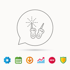 Baby monitor icon. Nanny for newborn sign. Radio set symbol. Calendar, Graph chart and Cogwheel signs. Download and Shield web icons. Vector
