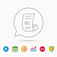 Bill icon. Pay document sign. Business invoice or receipt symbol. Calendar, Graph chart and Cogwheel signs. Download and Shield web icons. Vector