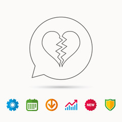 Broken heart icon. Divorce sign. End of love symbol. Calendar, Graph chart and Cogwheel signs. Download and Shield web icons. Vector