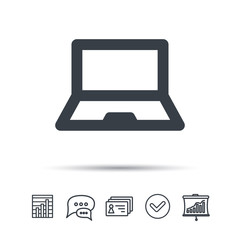 Computer icon. Notebook or laptop pc symbol. Chat speech bubble, chart and presentation signs. Contacts and tick web icons. Vector