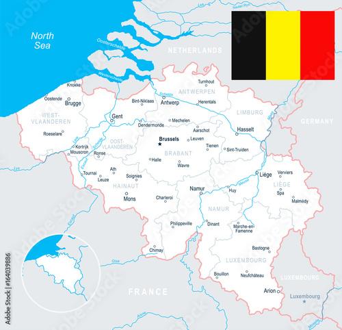 Bruges France Map.Brussels Antwerp Gent Bruges Map And Flag Illustration Stock