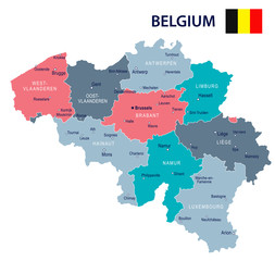 Belgium - map and flag illustration
