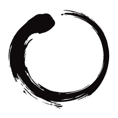 Enso Zen Circle Brush Black Ink Vector Illustration