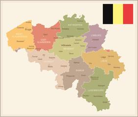 Belgium - vintage map and flag - illustration