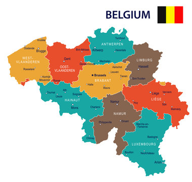 Belgium - map and flag illustration
