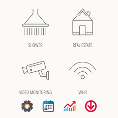 Wi-fi, video monitoring and real estate icons. Shower linear sign. Calendar, Graph chart and Cogwheel signs. Download colored web icon. Vector