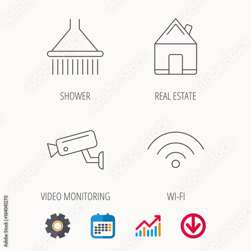 wi-fi, video monitoring and real estate icons  shower linear sign   calendar, graph chart and cogwheel signs  download colored web icon  vector