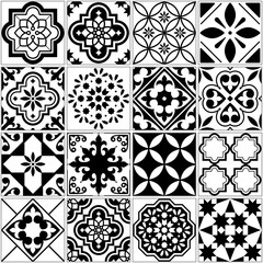 Vector tile pattern, Lisbon floral mosaic, Mediterranean seamless black and white ornament