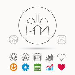 Lungs icon. Transplantation organ sign. Pulmology symbol. Calendar, Graph chart and Cogwheel signs. Download and Heart love linear web icons. Vector