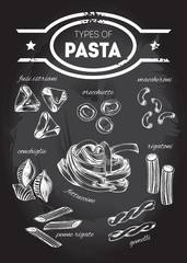Different types of authentic Italian pasta - fusi istriani, orecchiette, maccheroni, conchiglie, fettuccine, rigatoni, penne rigate, gemelli. Hand drawn set. Vector illustration on the blackboard.