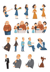 People lifestyle character animation Vector family collection. Cartoon faces, emotions, expressions. Different life moments moods