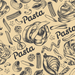 Decorative seamless pattern with different types of authentic Italian pasta. Hand drawn vector illustration.