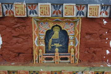 Buddhist images and decor at Punakha Dzong, Bhutan