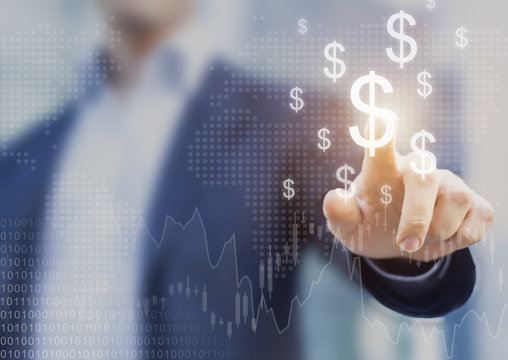 Successful international financial investment concept, businessman, growth, charts, dollar sign