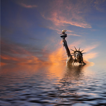 New York under water, climate change concept.