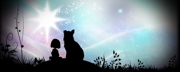 Friends for life, girl and her dog silhouette art photo manipulation