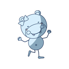 blue color shading silhouette caricature of cute expression female hippo in dance pose with bow lace vector illustration