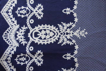 Navy and white printed cloth from above
