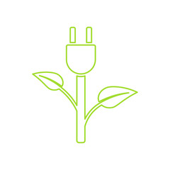 Green Plug Power. Ecology Charging vector icon