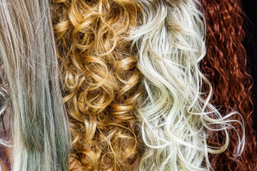 Red, blonde and grey hair