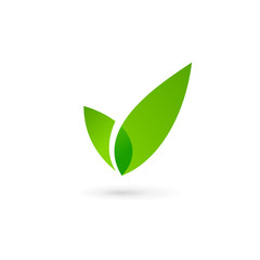Eco leaves check mark logo icon design template elements