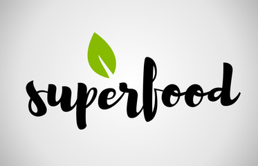 Superfood green leaf handwritten text white background
