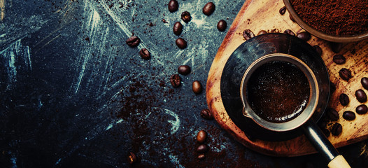 Food coffee background, banner, top view