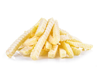 Abundant frozen French fries on white background