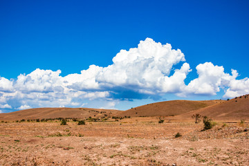 Desert landscape. Blue sky with white clouds. Summer steppe landscape. Hot desert with mountains view.