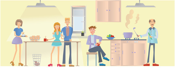 Meeting of friends, young men and women cook and eat food in the kitchen. Vector illustration.