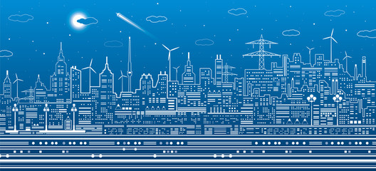 Night city scene, urban infrastructure illustration, modern skyline town, white lines on blue background, vector design art